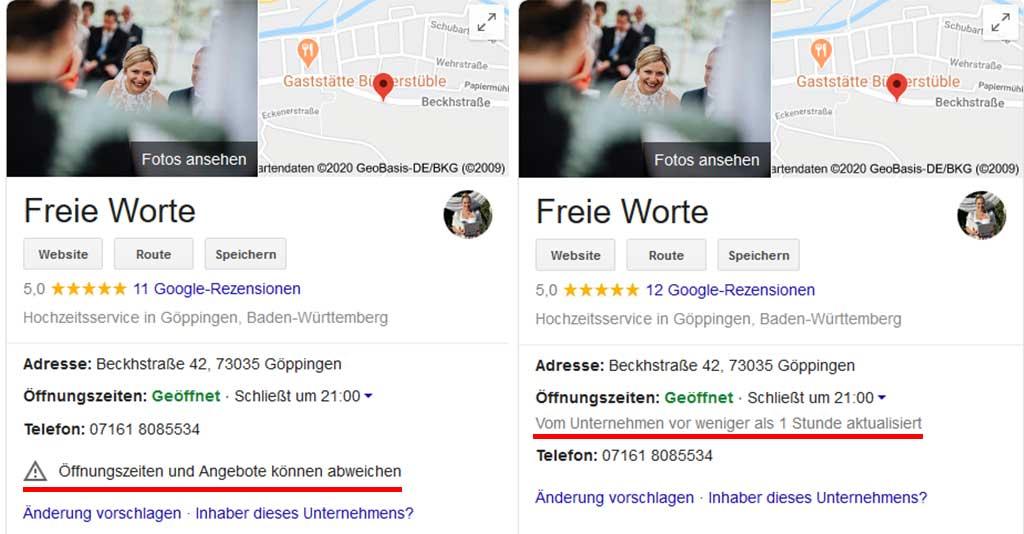 Google My Business zeigt jetzt an, wann die Öffnungszeiten aktualisiert wurden